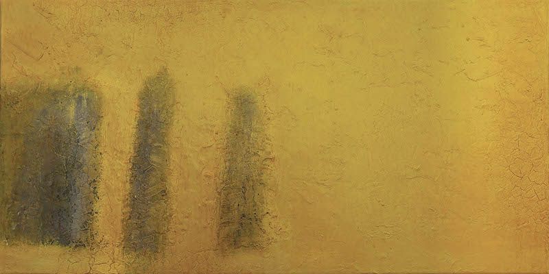 Still Grey on Yellow Canvas 2014 40 x 80 cm